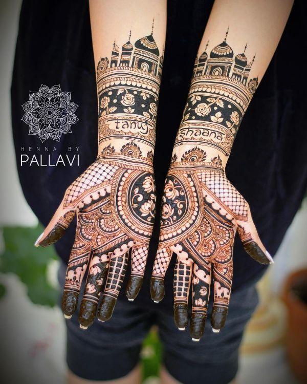 Taj mahal mehndi design Symmetrical Bridal Full Hand Mehndi Designs