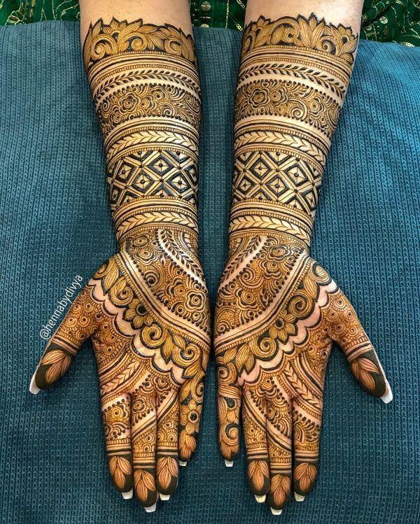 Geometric mehndi design for full hands Symmetrical Bridal Full Hand Mehndi Designs