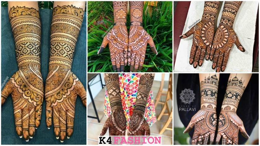 Gorgeous Symmetrical Half and Half Bridal Mehndi Designs for Full Hands