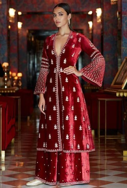 Flared Palazzo Salwar Velvet Bridal Outfits for the Winter Wedding Season