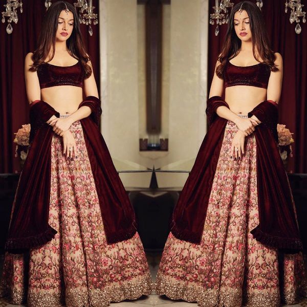 Bordeaux heavy bridal lehenga Velvet Bridal Outfits for the Winter Wedding Season