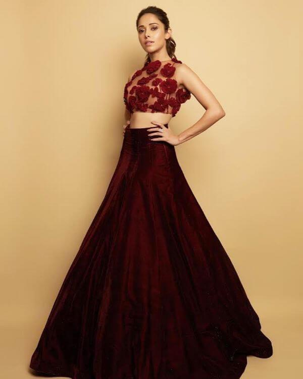 Halter-neck half sheer embellished lehenga Velvet Bridal Outfits for the Winter Wedding Season