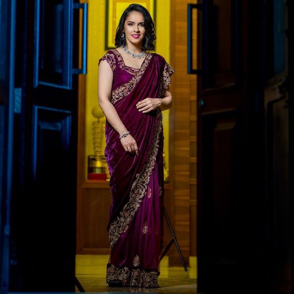 Embroidered blouse and saree Velvet Bridal Outfits for the Winter Wedding Season