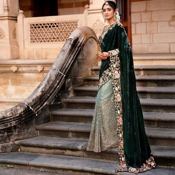 Half and half velvet saree Velvet Bridal Outfits for the Winter Wedding Season
