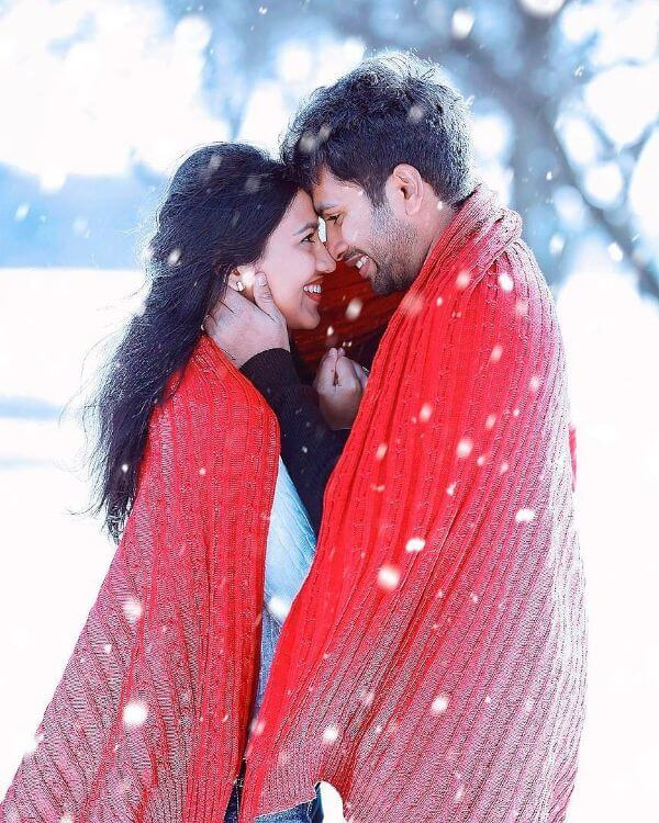 Pre-wedding shoot of the bollywood pose Winter Pre-Wedding Photoshoot Ideas with Beautiful Locations