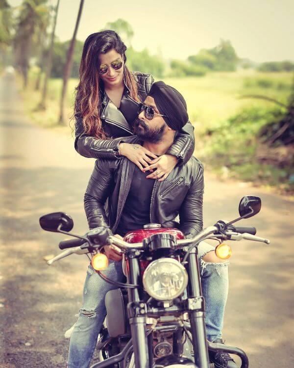 Pre-wedding shoot of the bike lovers Winter Pre-Wedding Photoshoot Ideas with Beautiful Locations
