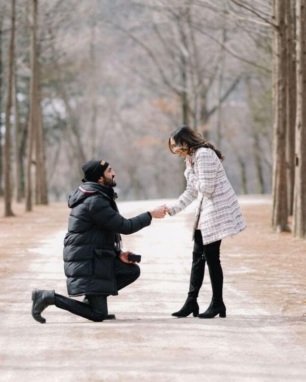Pre-wedding shoot of madly in love Winter Pre-Wedding Photoshoot Ideas with Beautiful Locations