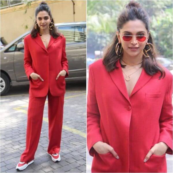 Deepika Padukone stands out in her funky red. Winter Outfit Ideas Inspired by Bollywood Divas
