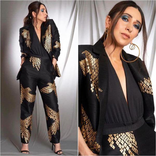 Sassy Karisma's pantsuit is nothing like you own Winter Outfit Ideas Inspired by Bollywood Divas
