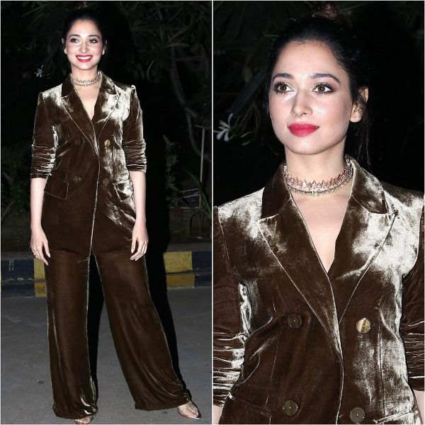 Tamannah's blazer & trouser is the new party outfit Winter Outfit Ideas Inspired by Bollywood Divas