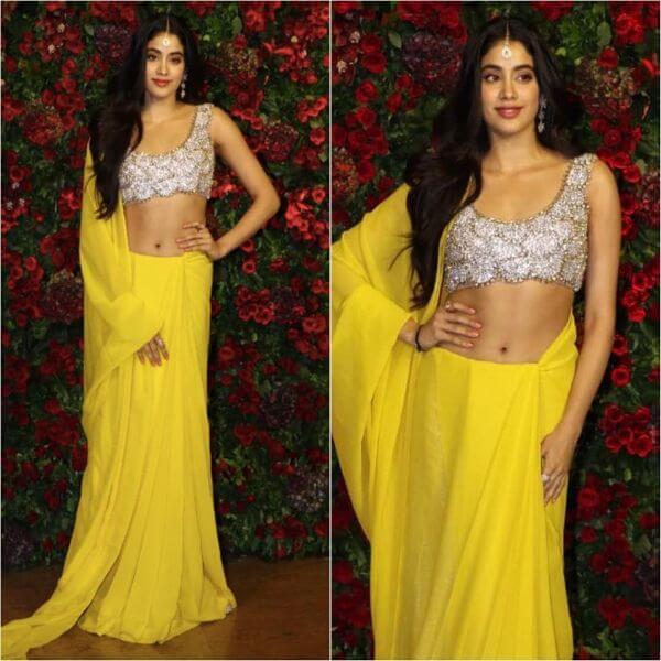 Jhanvi Kapoor yellow saree with silver sleeveless blouse - Yellow Sarees For Haldi Ceremony