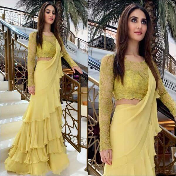 Vaani Kapoor yellow frilled saree