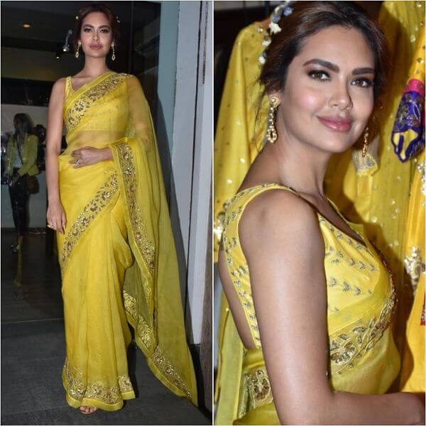 Esha Gupta yellow saree with sleeveless blouse