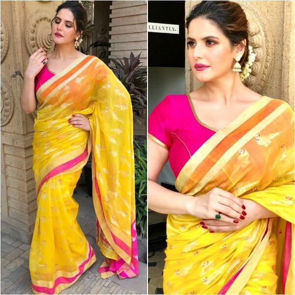 Zareen Khan's pink and yellow saree for any occasion
