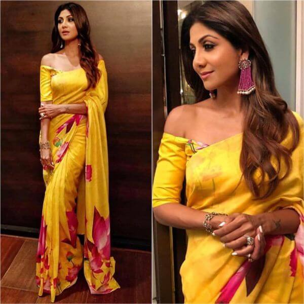 Shilpa Shetty yellow and red floral saree - Yellow Sarees For Haldi Ceremony