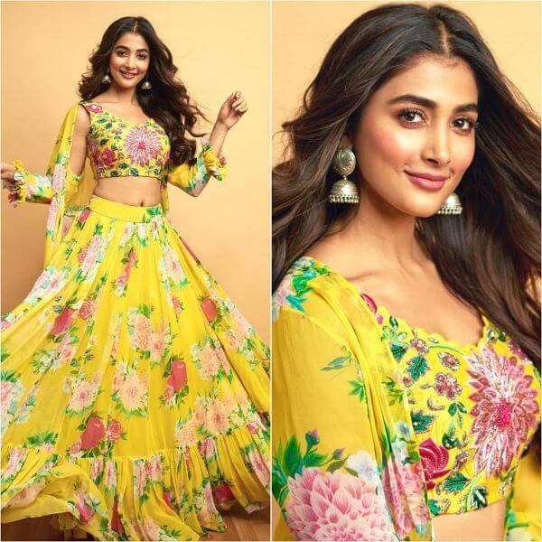 Pooja Hegde yellow flower georgette frill lehenga and crop-top with frill design