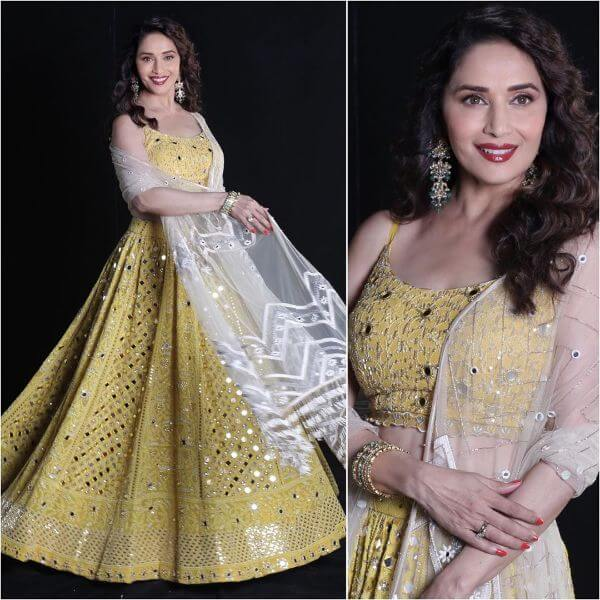 Madhuri Dixit yellow lucknowi georgette lehenga choli with embroidered thin net dupatta