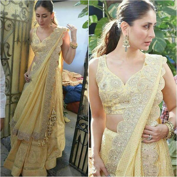 Kareena kapoor khan in this pastel yellow chikankari embroidered lehenga with a heavy chikankari dupatta