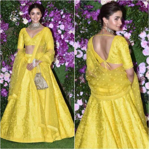 Alia bhatt yellow deep V-neck lehenga
