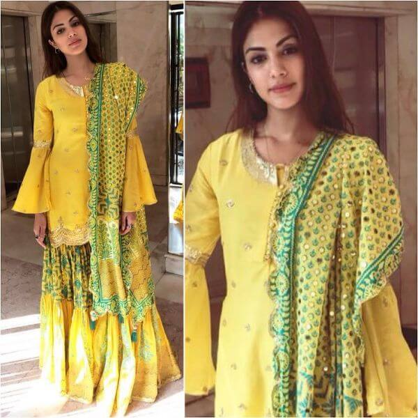 Yellow Sharara Suit with a pinch of Green Yellow Sharara Suits to Make Your Haldi Ceremony Special