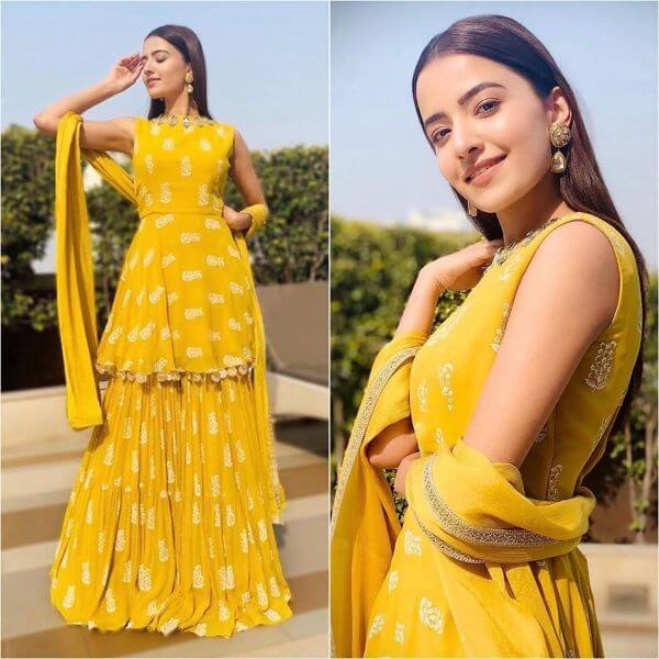 Yellow Sharara Suit with Peplum Kurti Yellow Sharara Suits to Make Your Haldi Ceremony Special