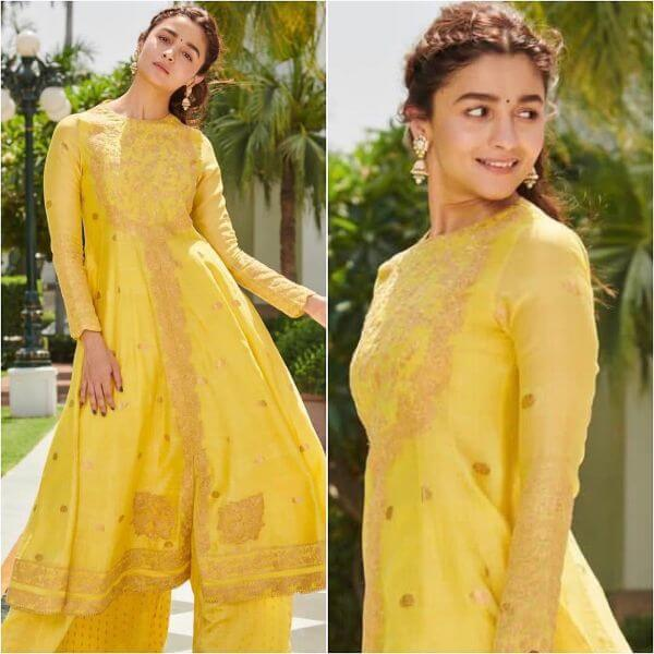 Yellow Sharara Suit with Long Kurti Yellow Sharara Suits to Make Your Haldi Ceremony Special