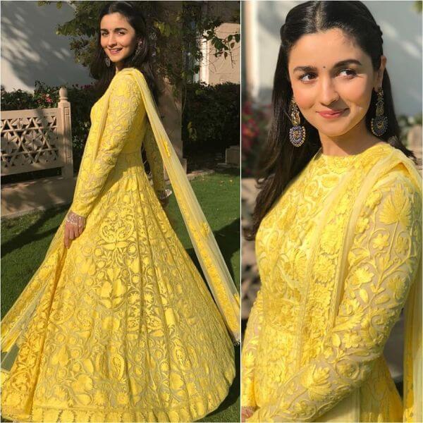 Yellow Anarkali suit Indian Haldi Ceremony Suits for Bride & Bridesmaids