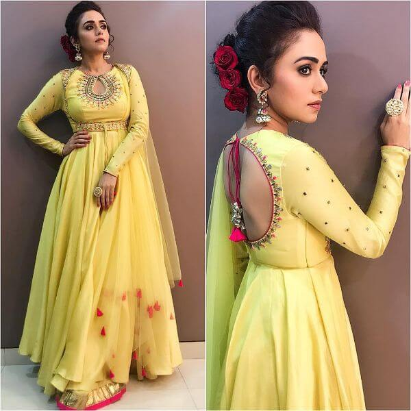 Bright yellow flared anarkali suit