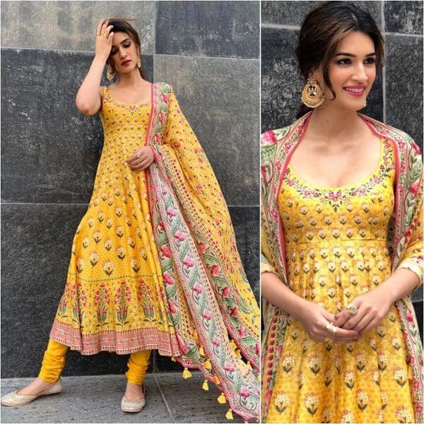 Printed Anarkali suit Indian Haldi Ceremony Suits for Bride & Bridesmaids