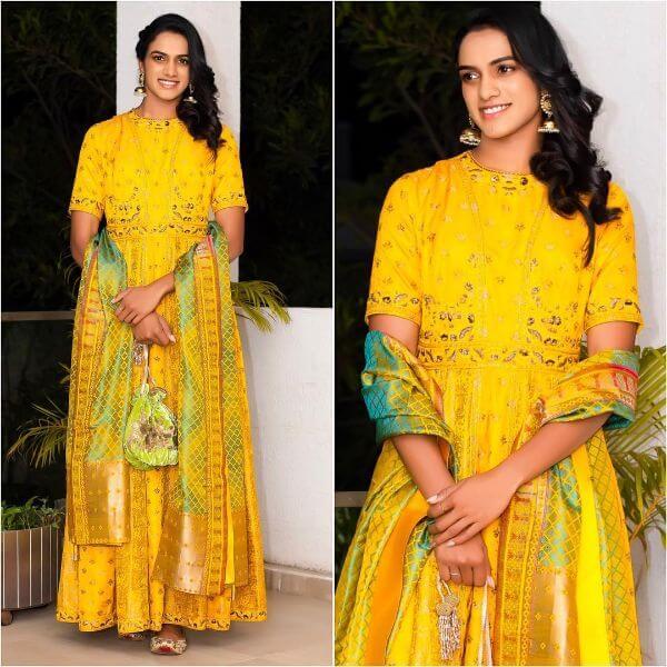 Silk Anarkali suit Indian Haldi Ceremony Suits for Bride & Bridesmaids