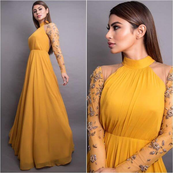 Mustard long gown for any occasion