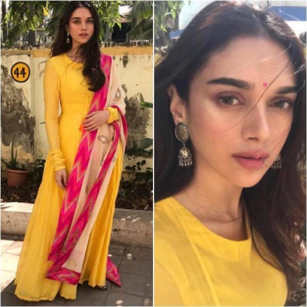 Yellow floor length full-sleeved anarkali suit Indian Haldi Ceremony Suits for Bride & Bridesmaids
