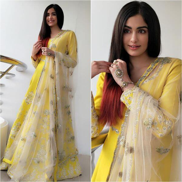 Canary yellow floor length with embroidered neckline full-sleeved suit