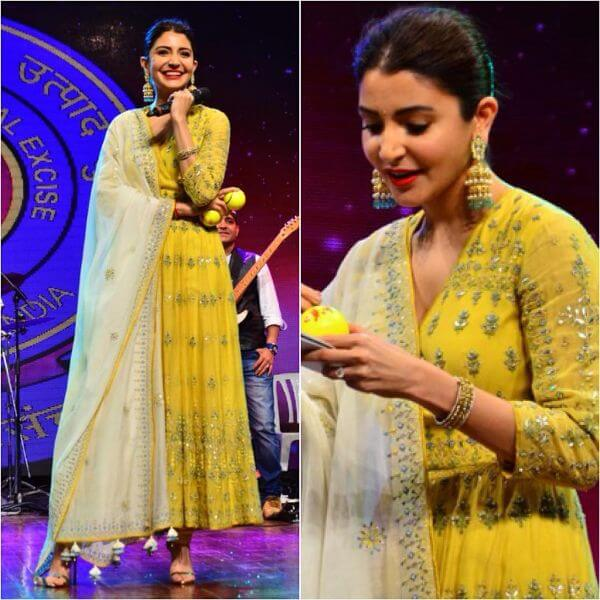 Deep V neck embroidered yellow anarkali suit Indian Haldi Ceremony Suits for Bride & Bridesmaids