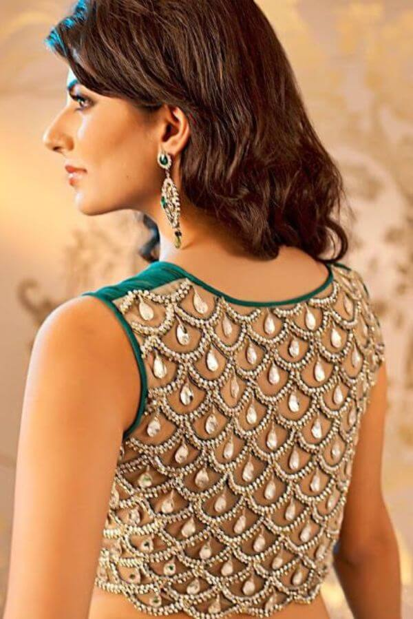 Jewelled back net blouse for Lehenga