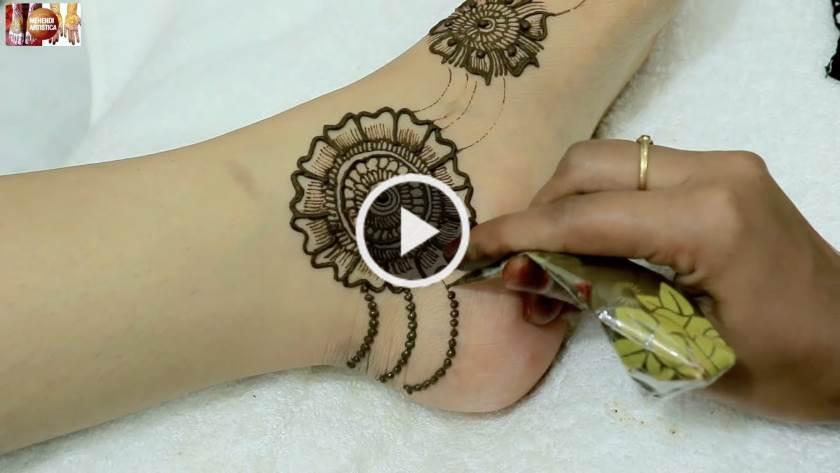 Easy Foot Mehndi Designs - Simple Feet Henna Patterns