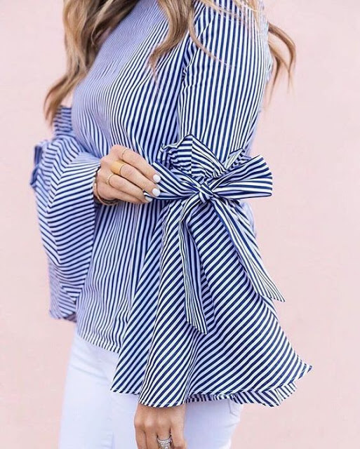 Full sleeve with bow detailing Latest Sleeve designs for Tops