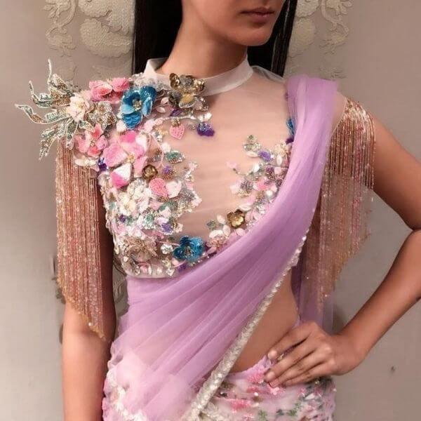 modern front net blouse design stylish celebrity fashion designer