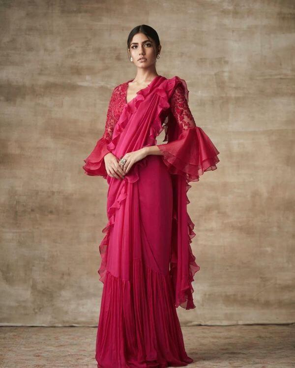 Romantic frilled sleeves front net blouse design stylish celebrity fashion designer