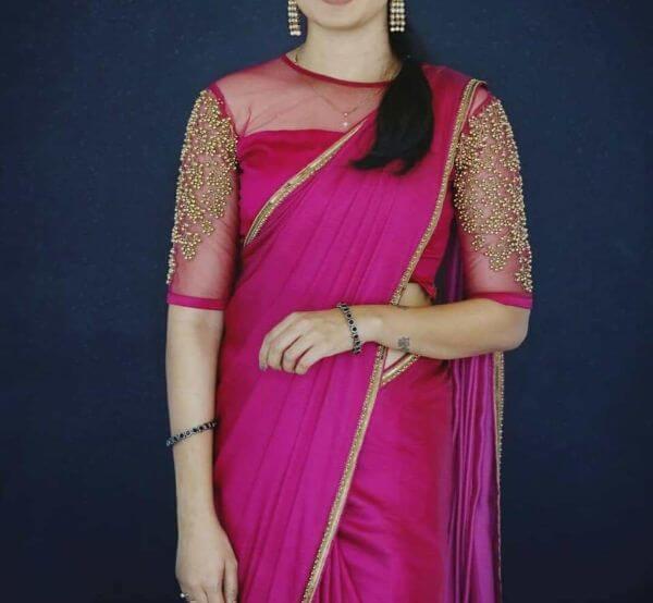 Net blouse desgin for Silk Saree