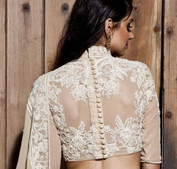 Illusion net blouse design with Full Sleeves