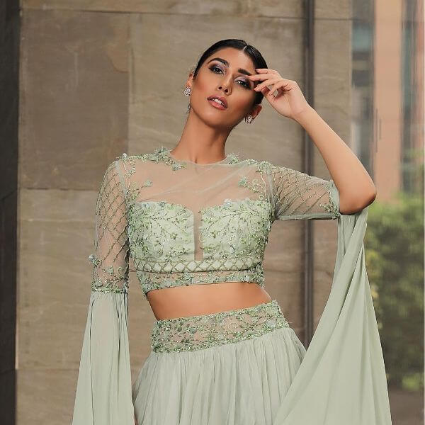 Flowing sleeve front net blouse design stylish celebrity fashion designer