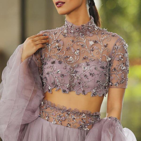 High Neck Blouse design embroidery stone work