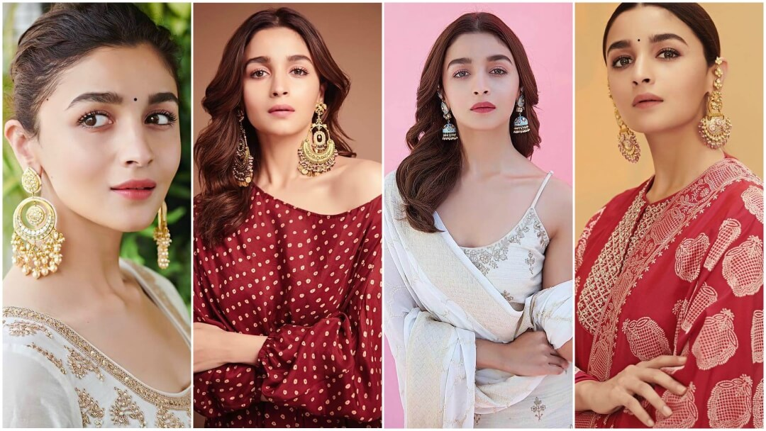Alia Bhatt in Sabyasachi Chandbalis Earrings
