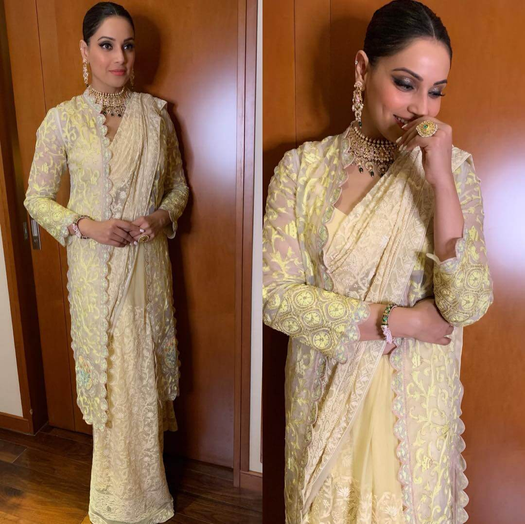 Yellow embroidery saree with longline jacket