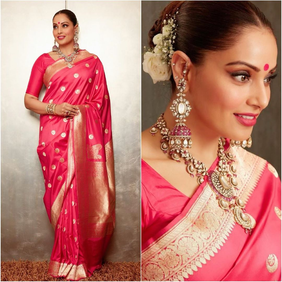 Bipasha Basu in pink silk saree