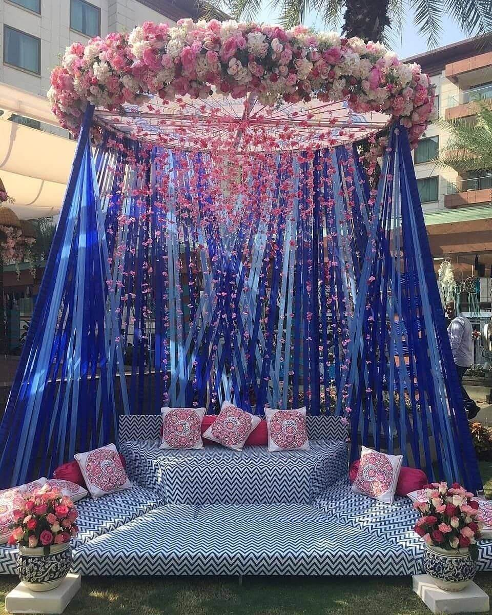 Indian wedding chair decoration idea for bridal seat