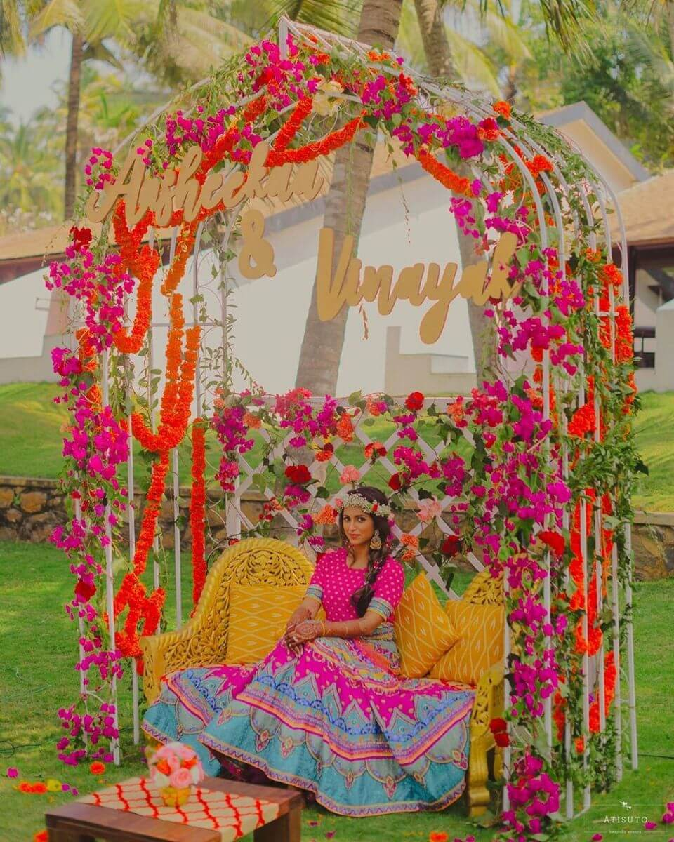 Gorgeous named seating style Haldi Ceremony Decoration Ideas