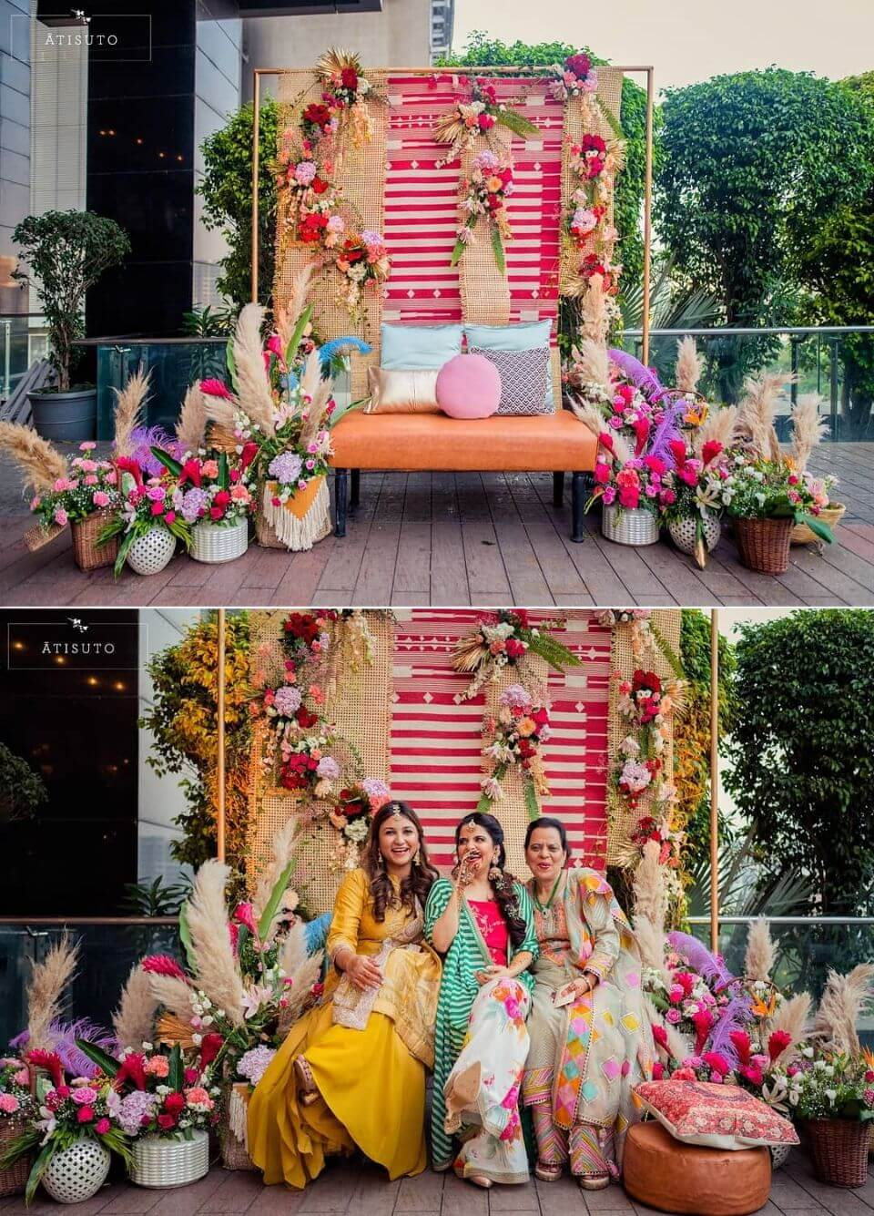 Whimsy bridal seating Haldi Mehndi Ceremony Decoration Ideas