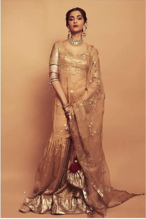 Golden kurti and gharara for Indian Bridesmaid dresses